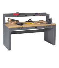 Tennsco Hardwood Electronic Workbenches with Panel Legs (Model with Electronic Riser Shown)