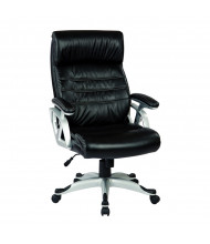 Office Star Work Smart ECH Leather High-Back Executive Chair (Shown with Silver Base)
