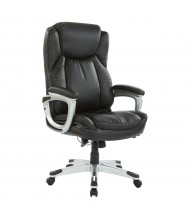 Office Star Work Smart Bonded Leather High-Back Executive Office Chair, Black/Silver