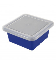 ECR4Kids Square Plastic Classroom Storage Tray with Lid, Pack of 4 (Shown in Blue)