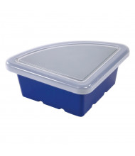 ECR4Kids Quarter Circle Plastic Classroom Storage Tray with Lid, Pack of 4 (Shown in Blue)