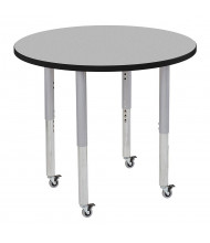 """ECR4Kids Contour 36"""" D Round Adjustable Mobile Activity Table (Shown in Grey)"""