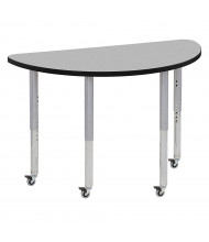 "ECR4Kids Contour 48"" W x 24"" D Half-Round-Shaped Adjustable Mobile Activity Table (Shown in Grey)"