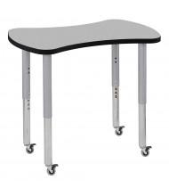 "ECR4Kids Contour 48"" W x 24"" D Bowtie-Shaped Adjustable Mobile Activity Table (Shown in Grey)"