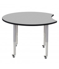 "ECR4Kids Contour 48"" D Crescent-Shaped Adjustable Mobile Activity Table (Shown in Grey)"