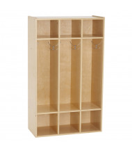 ECR4Kids Birch Streamline 3-Section Coat Locker