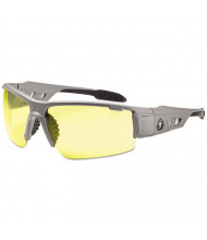 Ergodyne Skullerz Dagr Safety Glasses, Matte Gray Frame/Yellow Lens, Nylon/Polycarb