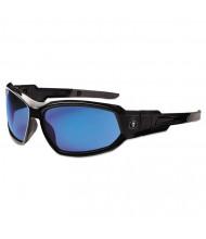 Ergodyne Skullerz Loki Safety Glass/Goggle, Black Frame/Blue Mirror Lens,Nylon/Polycarb