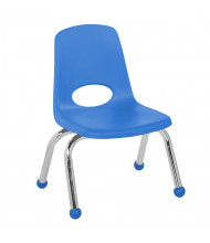 "ECR4Kids 10"" H Plastic Classroom Stacking Chair with Chrome Legs and Ball Glides, 6-Pack (Shown in Blue)"