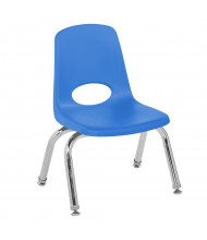 "ECR4Kids 10"" H Plastic Classroom Stacking Chair with Chrome Legs, 6-Pack (Shown in Blue)"