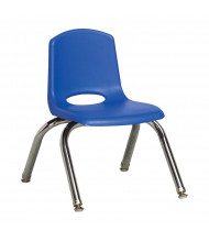 "ECR4Kids 10"" H Classroom Stacking Chair, Chrome Legs, 6-Pack (Shown in Blue)"