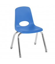 "ECR4Kids 12"" H Plastic Classroom Stacking Chair with Chrome Legs, 6-Pack (Shown in Blue)"