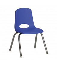 "ECR4Kids 14"" H Classroom Stacking Chair, Chrome Legs, 6-Pack (Shown in Blue)"