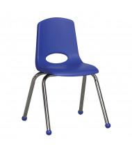 "ECR4Kids 16"" H Plastic Classroom Stacking Chair with Chrome Legs and Ball Glides, 6-Pack (Shown in Blue)"