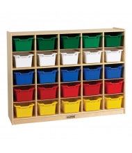 ECR4Kids Birch 25 Cubby-Tray Classroom Storage Cabinet with Bins (Shown with Assorted Bins)