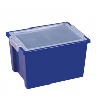 ECR4Kids Large Plastic Storage Bins with Lids, 4 Pack (Shown in Blue)