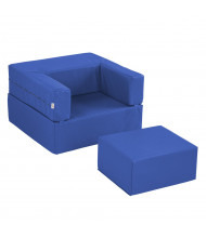 ECR4Kids SoftZone Flip-Flop Chair and Ottoman Set (Shown in Blue)