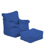 ECR4Kids SoftZone Bean Bag Chair and Ottoman Set (Shown in Blue)