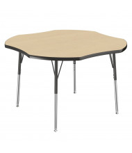 "ECR4Kids 48"" D Clover Adjustable Classroom Activity Table (Shown in Maple / Black)"