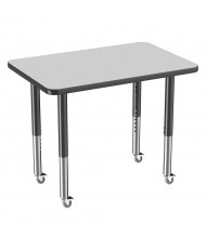 "ECR4Kids 36"" W x 24"" D T-Mold Adjustable Mobile Activity Table (Shown in Grey with 4 Casters)"