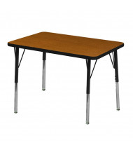 "ECR4Kids 36"" x 24"" Rectangle Adjustable Classroom Activity Table (Shown in Oak / Black)"
