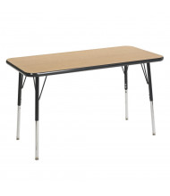 "ECR4Kids 48"" x 24"" Rectangle Adjustable Classroom Activity Table (Shown in Oak / Black)"