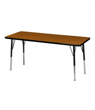"ECR4Kids 60"" x 24"" Rectangle Adjustable Classroom Activity Table (Shown in Oak / Black)"
