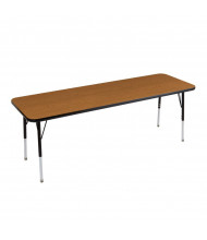 "ECR4Kids 72"" x 24"" Rectangle Adjustable Classroom Activity Table (Shown in Oak / Black)"