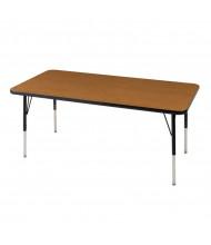 "ECR4Kids 48"" x 30"" Rectangle Adjustable Classroom Activity Table (Shown in Oak / Black)"