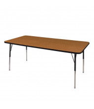 "ECR4Kids 72"" x 36"" Rectangle Adjustable Classroom Activity Table (Shown in Oak / Black)"