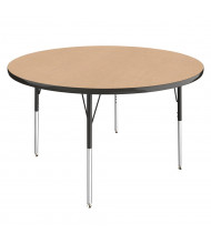"ECR4Kids 48"" D Round Height Adjustable Classroom Activity Table, Maple/Black"