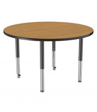 "ECR4Kids 48"" Dia. Round T-Mold Adjustable Mobile Activity Table (Shown in Oak)"
