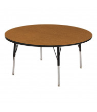 "ECR4Kids 48"" D Round Adjustable Classroom Activity Table (Shown in Oak / Black)"