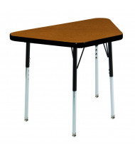 "ECR4Kids 30"" x 18"" Height Adjustable Trapezoid School Desk (Shown in Oak / Black)"