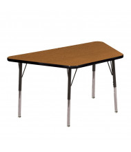 "ECR4Kids 60"" x 30"" Trapezoid Adjustable Classroom Activity Table (Shown in Oak / Black)"