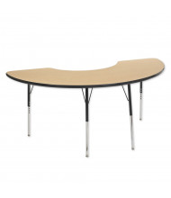 "ECR4Kids 72"" x 36"" Half-Moon Adjustable Classroom Activity Table (Shown in Maple / Black)"