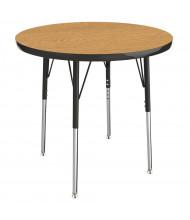 "ECR4Kids 30"" D Round Adjustable Classroom Activity Table (Shown in Oak / Black)"