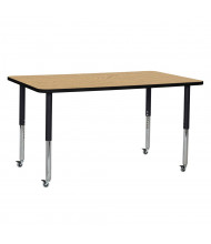 "ECR4Kids 60"" W x 36"" D T-Mold Adjustable Mobile Activity Table (Shown in Oak)"