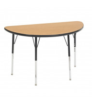 "ECR4Kids 48"" Half-Round Adjustable Classroom Activity Table (Shown in Oak / Black)"