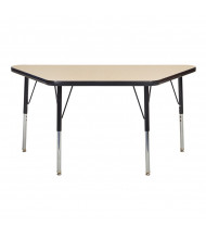 "ECR4Kids 48"" x 24"" Trapezoid Adjustable Classroom Activity Table (Shown in Maple / Black)"
