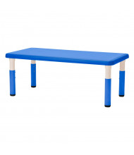 "ECR4Kids 48"" W x 24"" D Resin Height Adjustable Classroom Activity Table (Shown in Blue)"