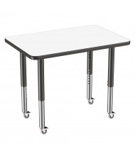 """ECR4Kids 36"""" W x 24"""" D Dry Erase Adjustable Mobile Activity Table (Shown with Casters)"""