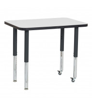 """ECR4Kids 36"""" W x 24"""" D Dry Erase Adjustable Mobile Activity Table (Shown with Two Levelers / Two Casters)"""