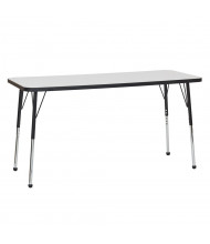 """ECR4Kids 60"""" W x 24"""" D Dry Erase Adjustable Activity Table (Shown with Ball Glides)"""