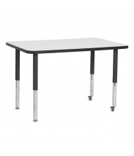 "ECR4Kids 48"" W x 30"" D Dry Erase Adjustable Mobile Activity Table (Shown with Two Levelers / Two Casters)"