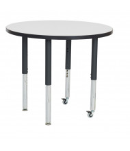 """ECR4Kids 36"""" Dia. Round Dry Erase Adjustable Mobile Activity Table (Shown with Two Levelers / Two Casters)"""
