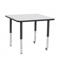 """ECR4Kids 36"""" D Square Dry Erase Adjustable Mobile Activity Table (Shown with Two Levelers / Two Casters)"""