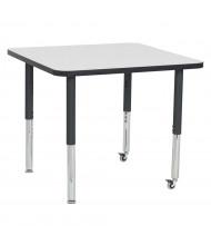 "ECR4Kids 36"" D Square Dry Erase Adjustable Mobile Activity Table"