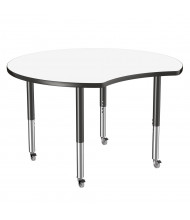 "ECR4Kids Collaboration 48"" Dia. Crescent-Shaped Dry Erase Adjustable Mobile Activity Table (Shown with 4 Casters)"