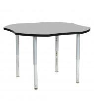 "ECR4Kids Contour 48"" D Clover-Shaped Adjustable Mobile Activity Table (Shown in Grey)"